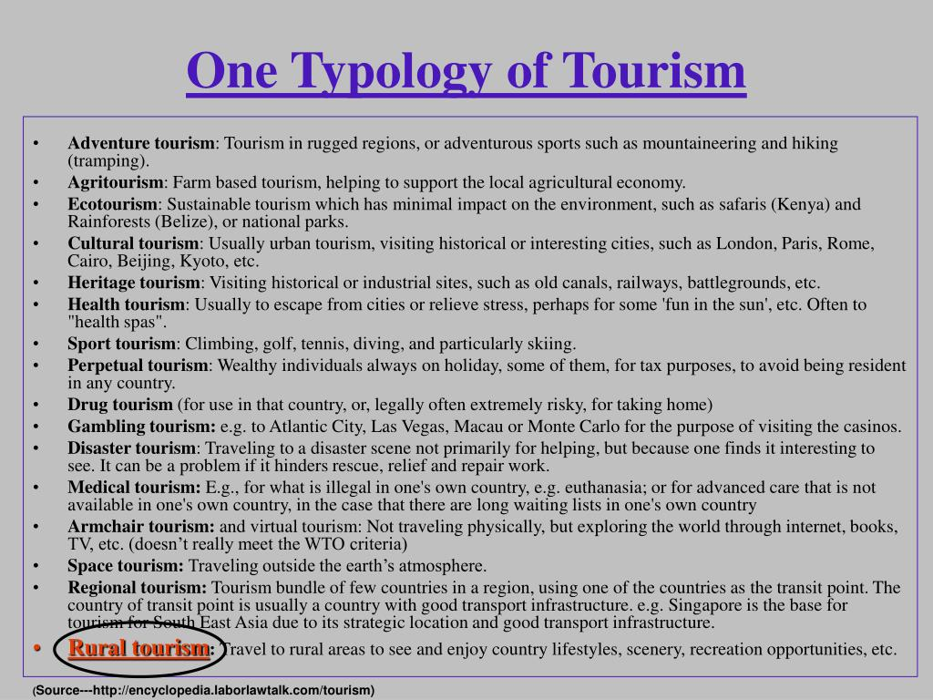 One Typology of Tourism
