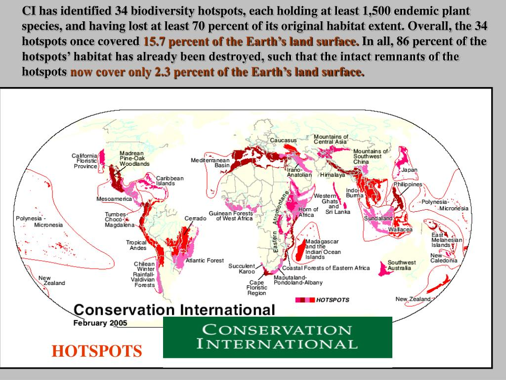 CI has identified 34 biodiversity hotspots, each holding at least 1,500 endemic plant species, and having lost at least 70 percent of its original habitat extent. Overall, the 34 hotspots once covered