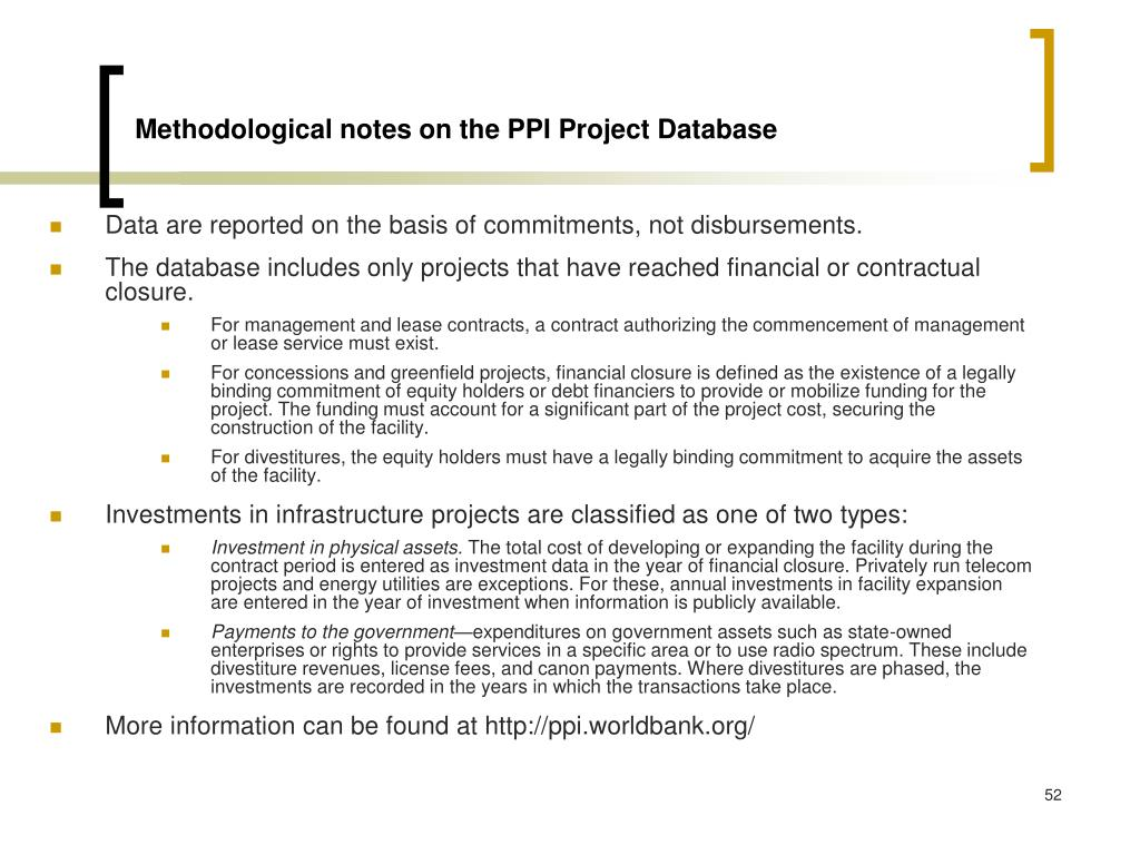 Methodological notes on the PPI Project Database