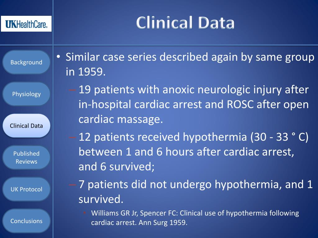 the benefits of induced hypothermia following cardiac arrest essay Therapeutic hypothermia: preventing damage after cardiac arrest 1088 words 5 pages introduction hypothermia protocol for the post cardiac arrest patient has been an evidence based practice of this therapy for about a decade now.
