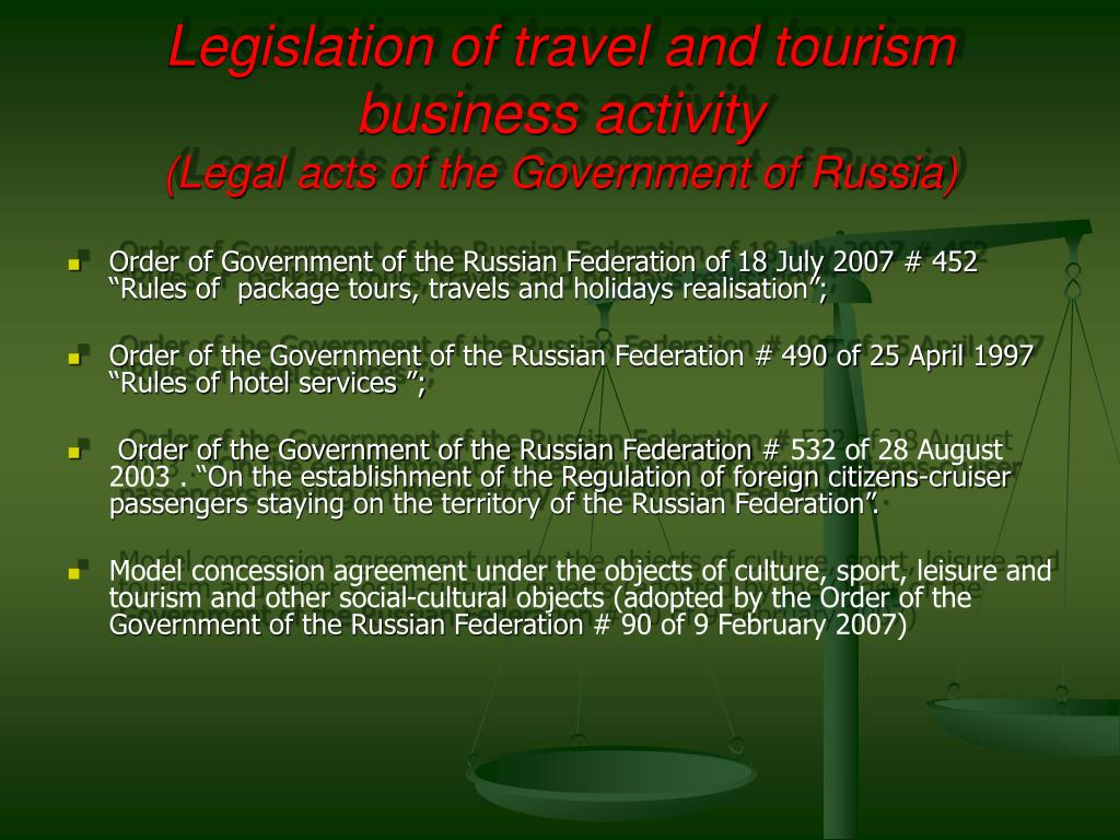 Legislation of travel and tourism  business activity