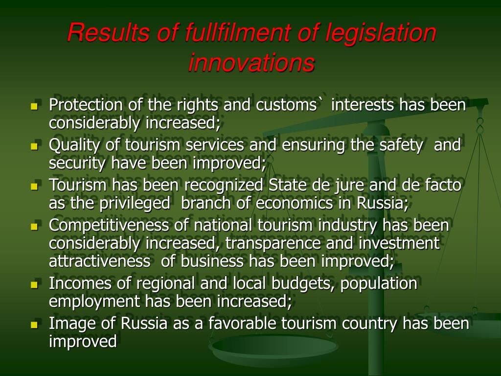 Results of fullfilment of legislation innovations