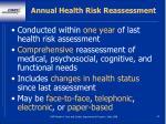 annual health risk reassessment