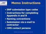 memo instructions