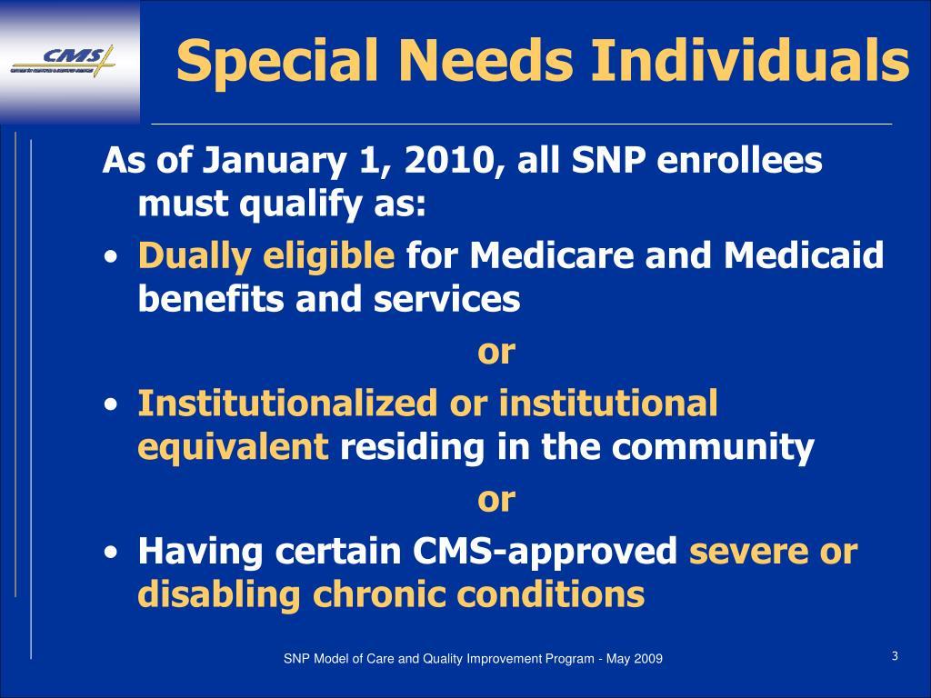 Special Needs Individuals