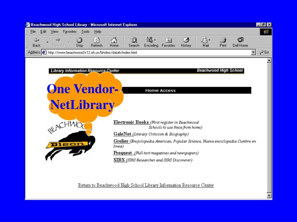 One Vendor-