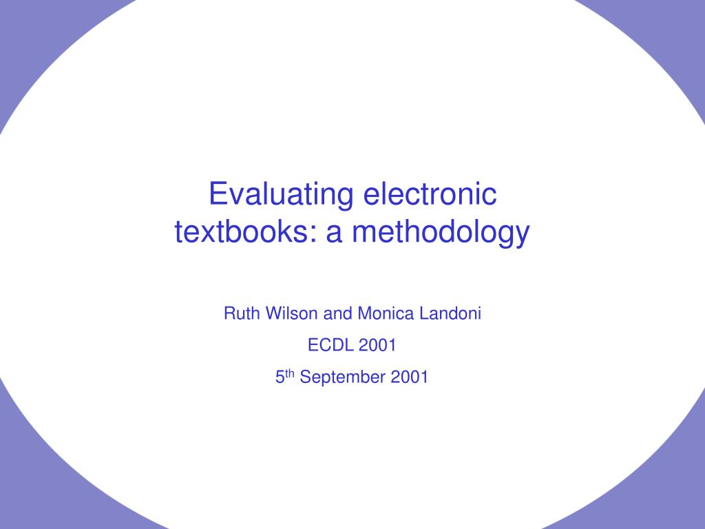 Evaluating electronic textbooks: a methodology