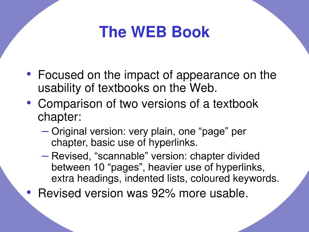 Focused on the impact of appearance on the usability of textbooks on the Web.