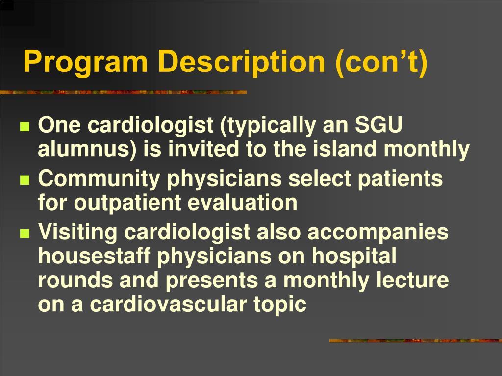 Program Description (con't)