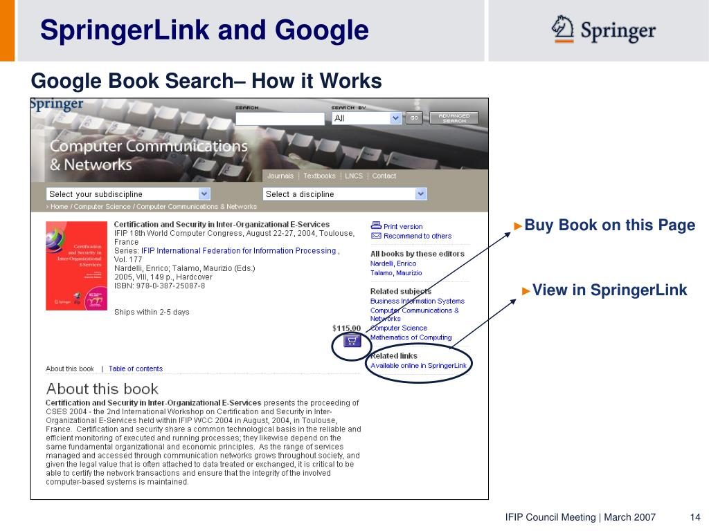 SpringerLink and Google