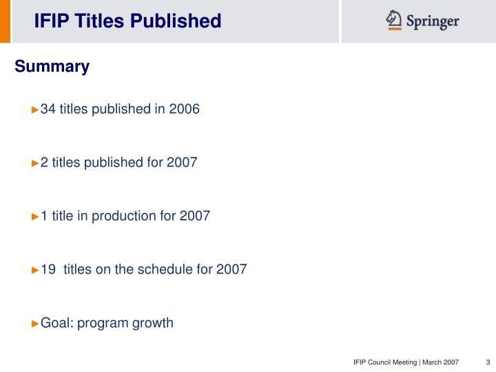 IFIP Titles Published