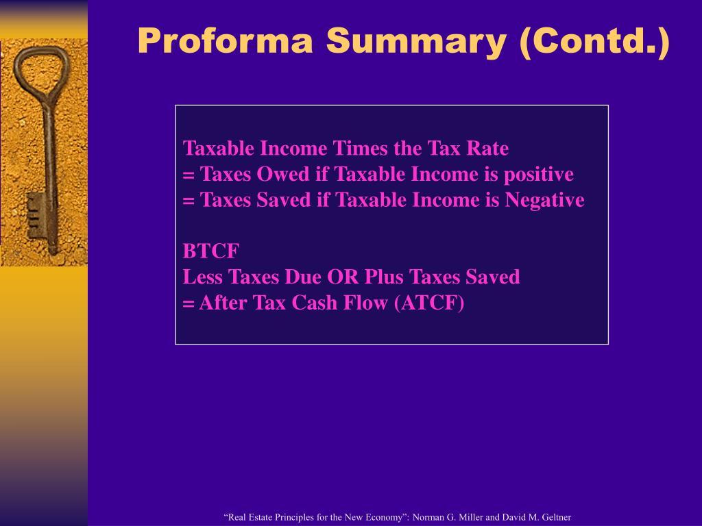 Proforma Summary (Contd.)