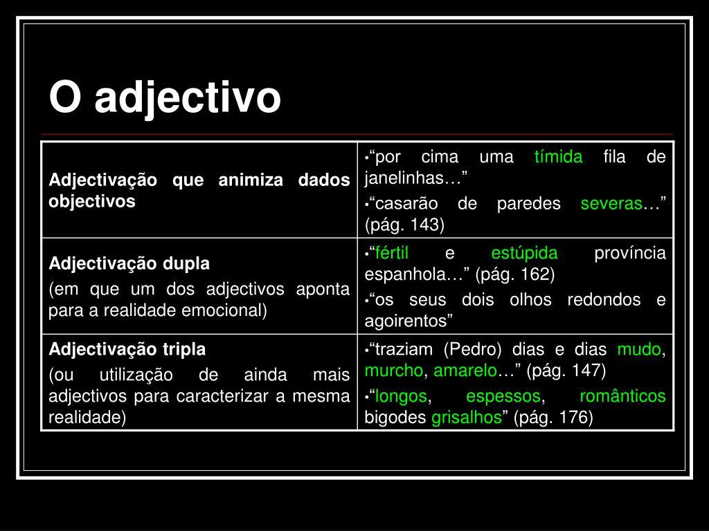 O adjectivo