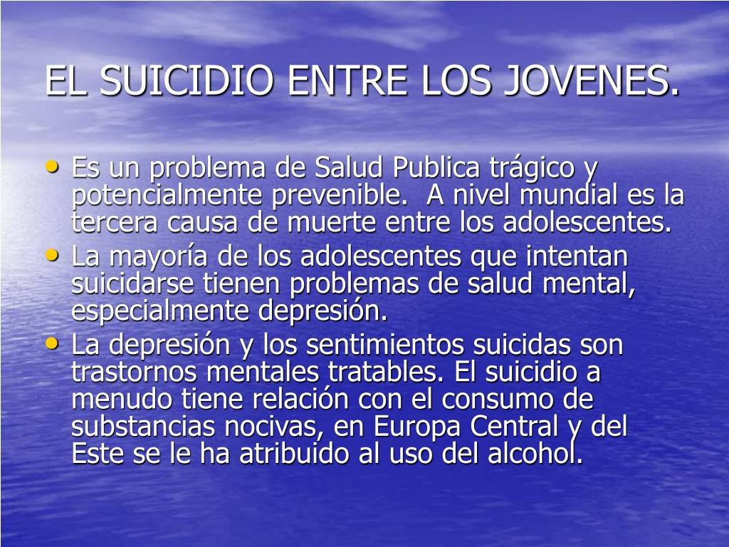 EL SUICIDIO ENTRE LOS JOVENES.