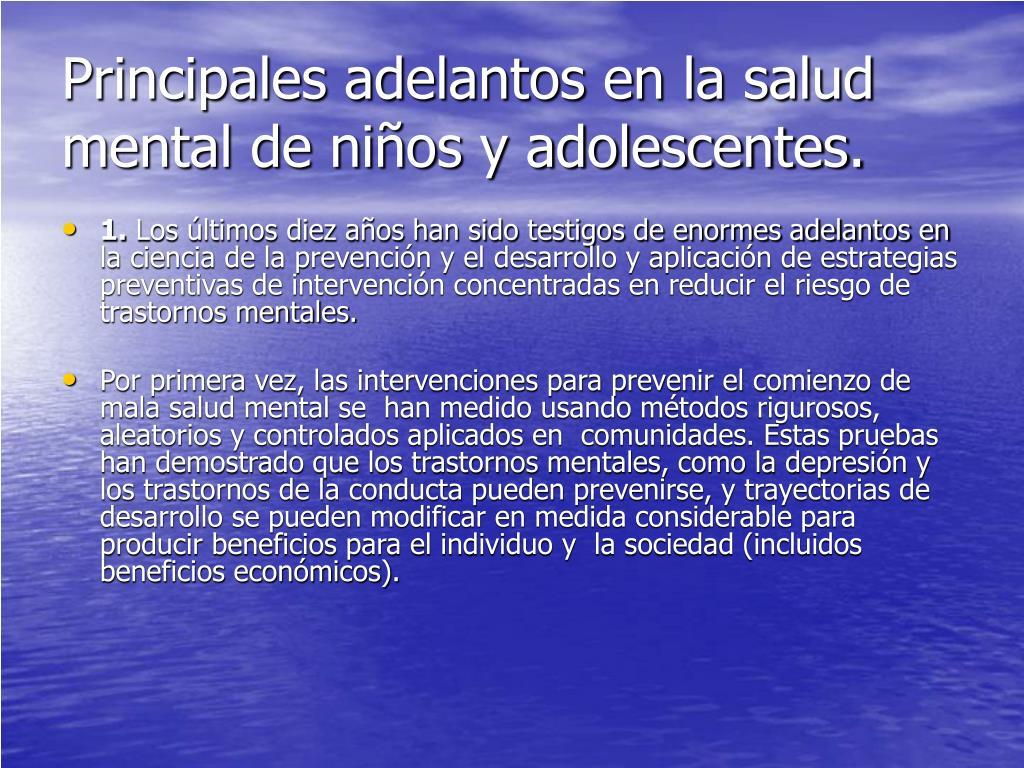 Principales adelantos en la salud mental de niños y adolescentes.