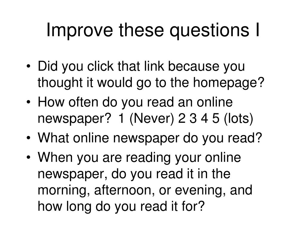 Improve these questions I