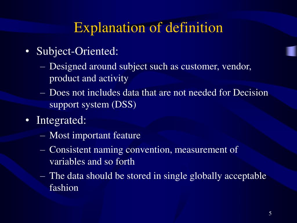 Explanation of definition