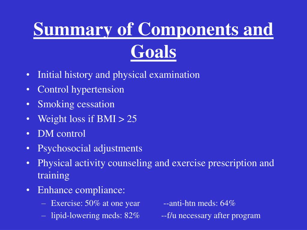 Summary of Components and Goals