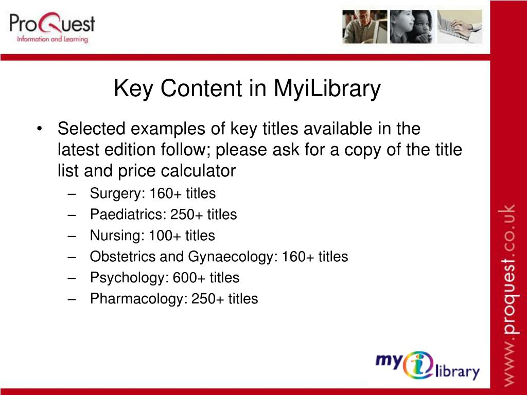Key Content in MyiLibrary
