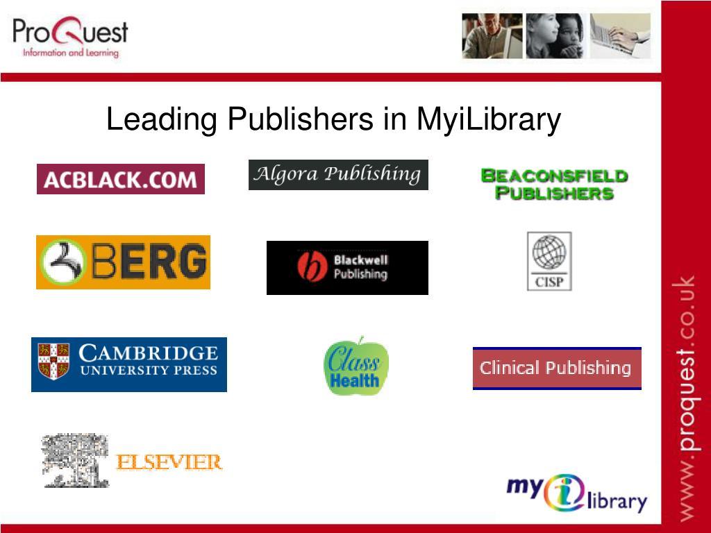 Leading Publishers in MyiLibrary