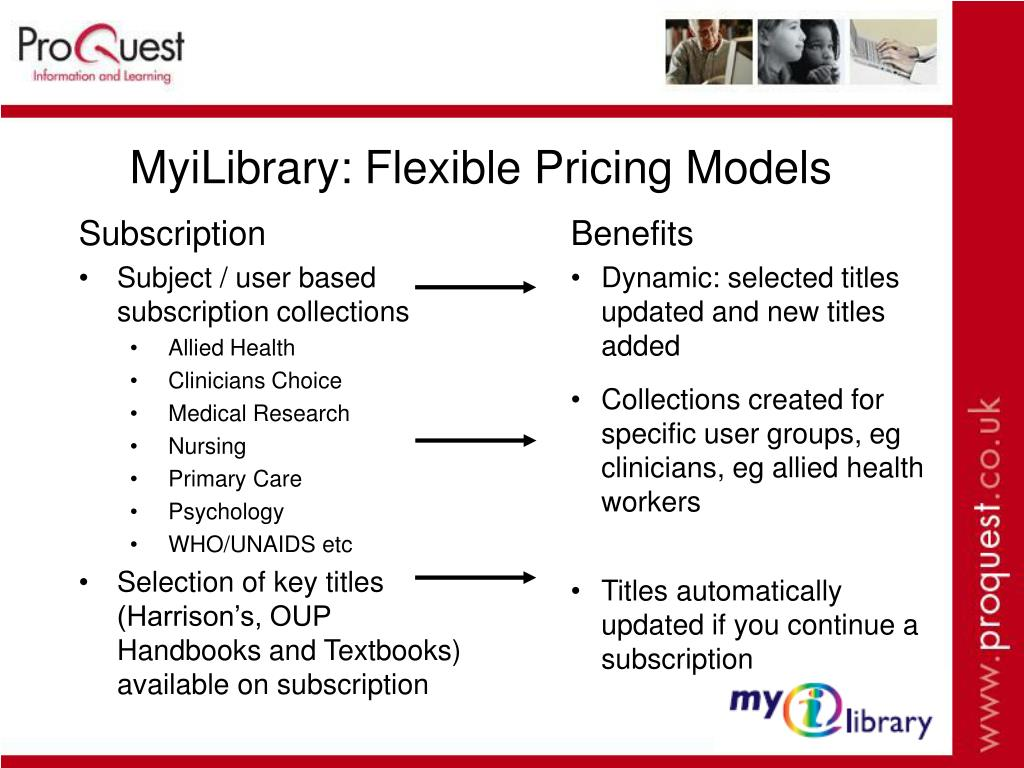 MyiLibrary: Flexible Pricing Models