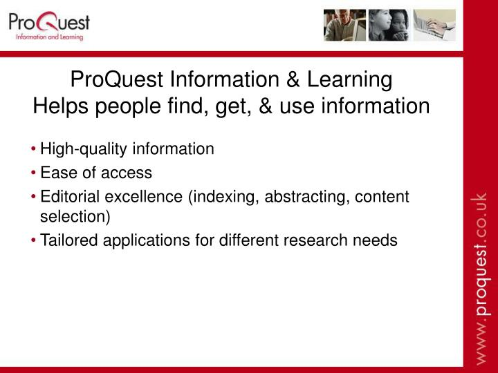 Proquest information learning helps people find get use information