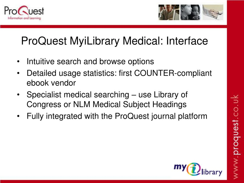 ProQuest MyiLibrary Medical: Interface