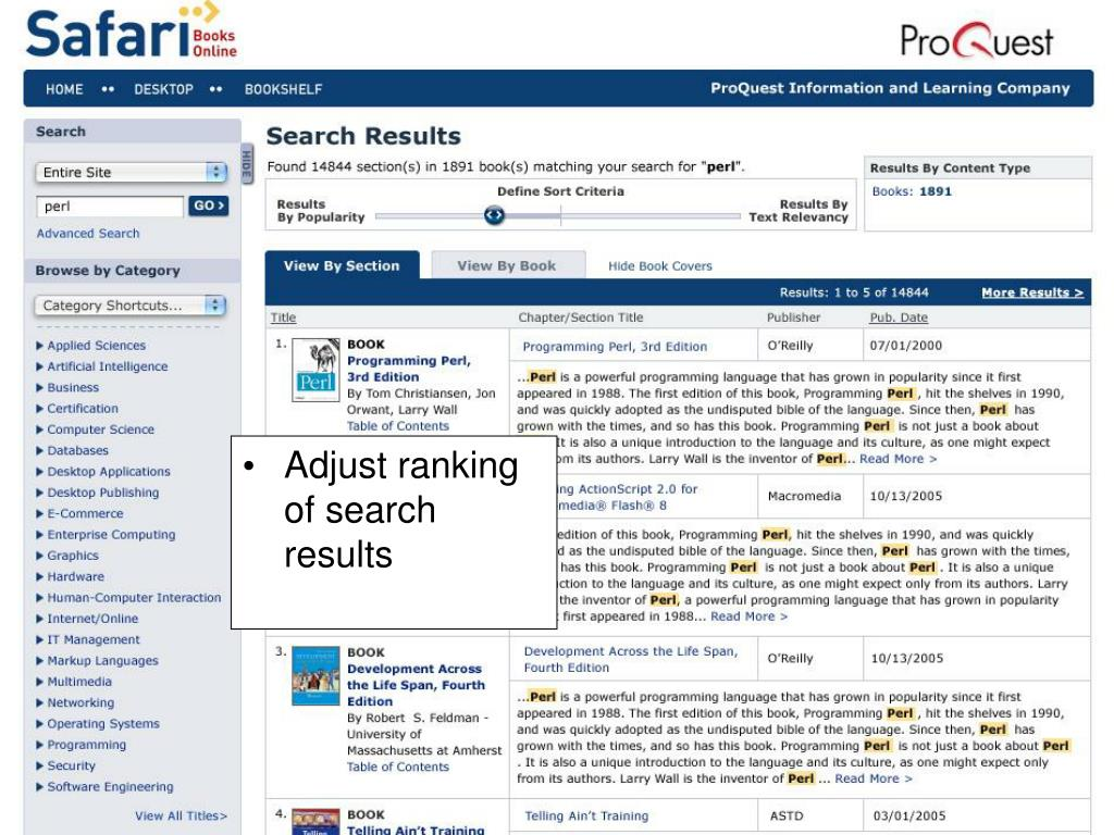 Adjust ranking of search results