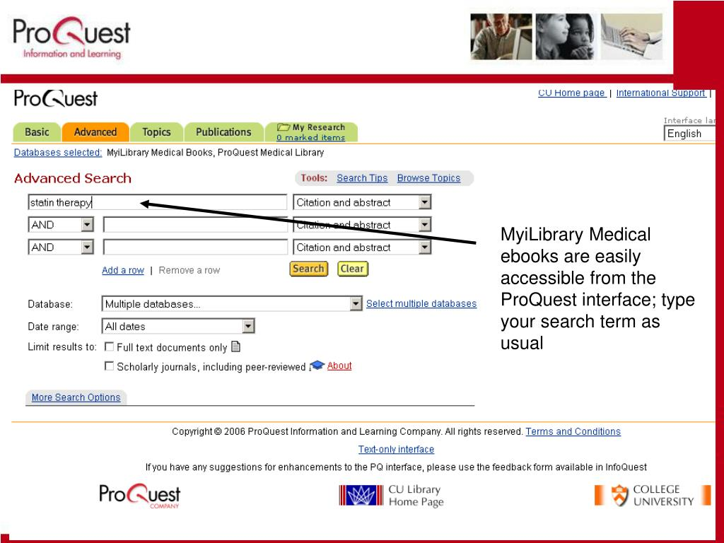MyiLibrary Medical ebooks are easily accessible from the ProQuest interface; type your search term as usual