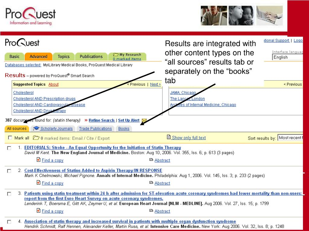 "Results are integrated with other content types on the ""all sources"" results tab or separately on the ""books"" tab"