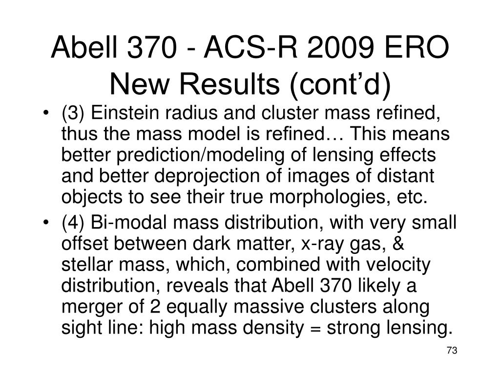 Abell 370 - ACS-R 2009 ERO New Results (cont'd)