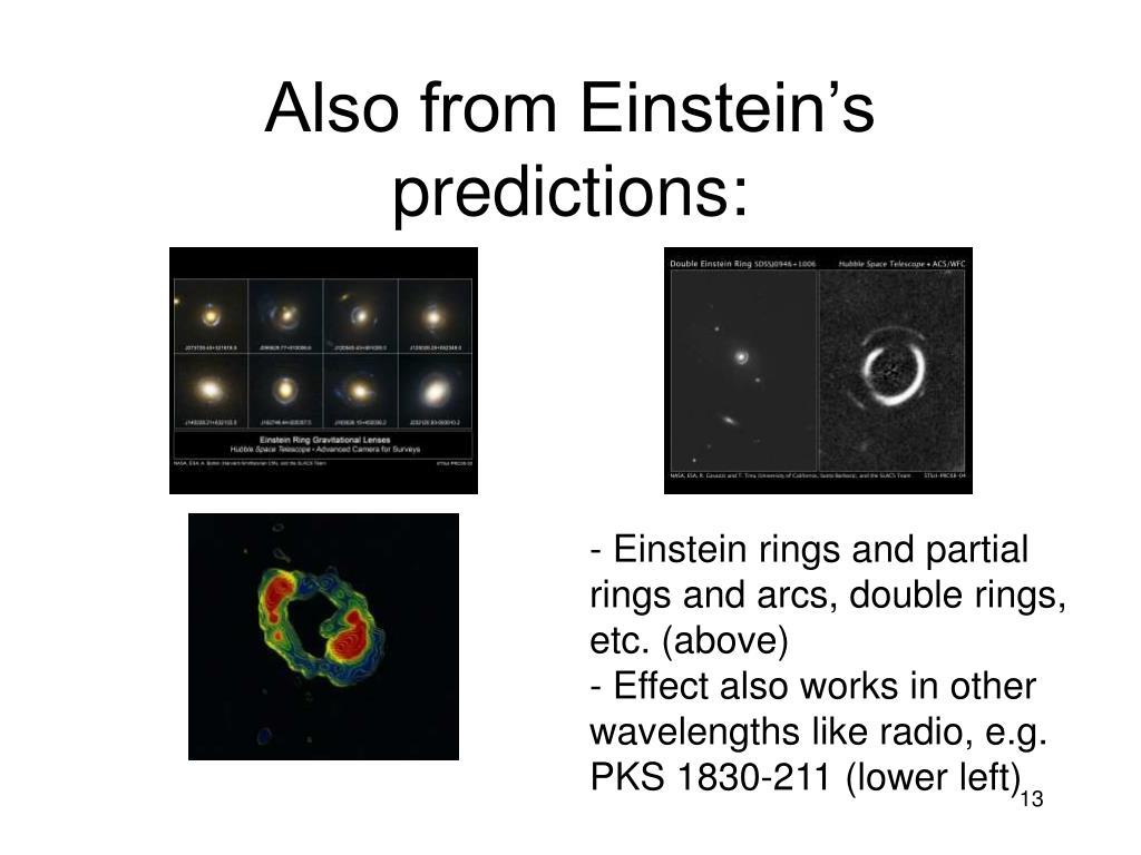 Also from Einstein's predictions: