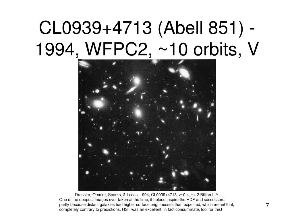 CL0939+4713 (Abell 851) - 1994, WFPC2, ~10 orbits, V