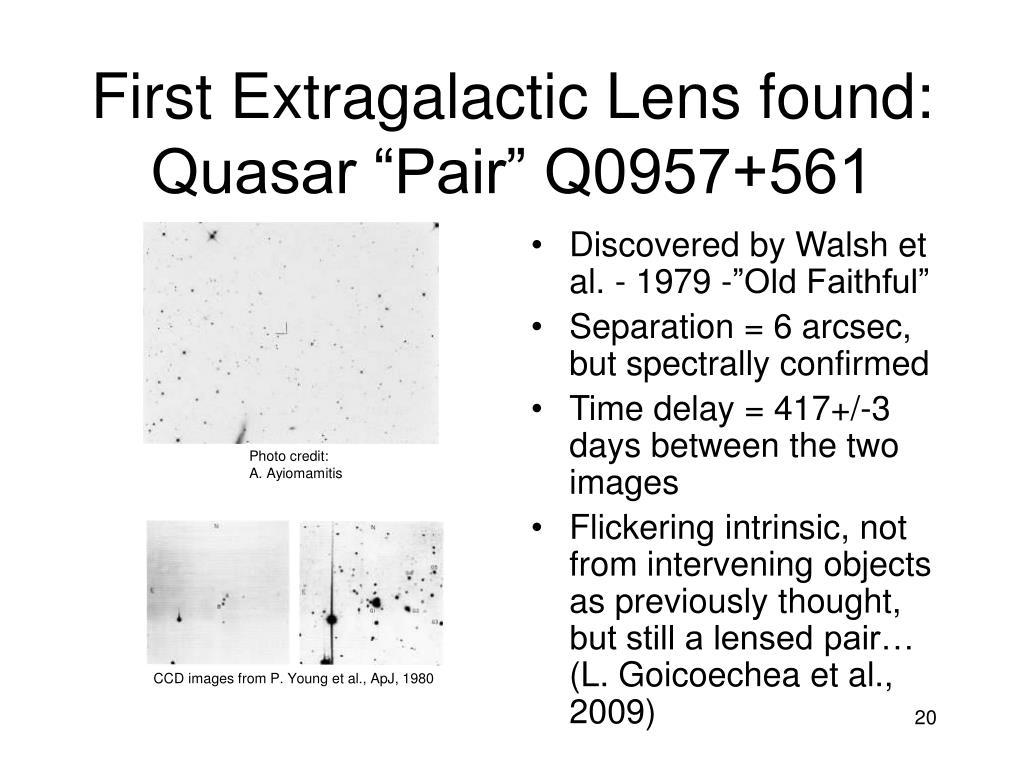 """First Extragalactic Lens found: Quasar """"Pair"""" Q0957+561"""
