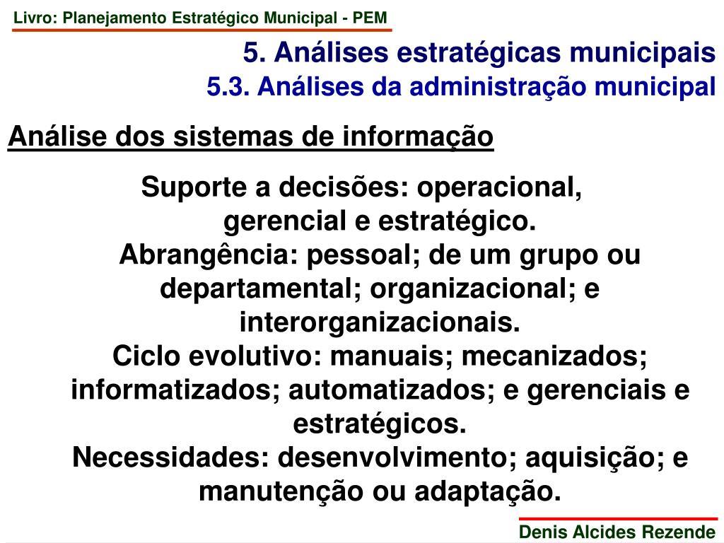 5. Análises estratégicas municipais