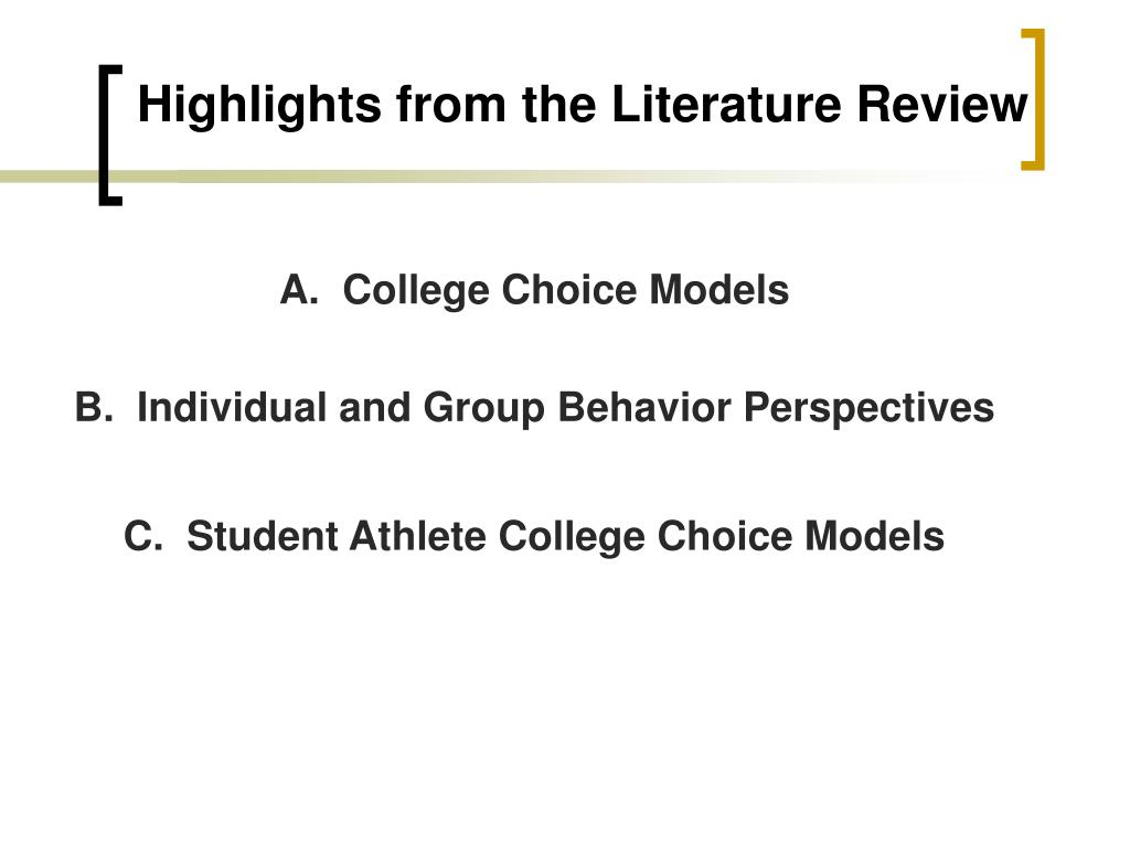 Highlights from the Literature Review