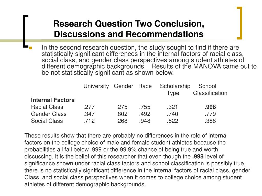 Research Question Two Conclusion, Discussions and Recommendations