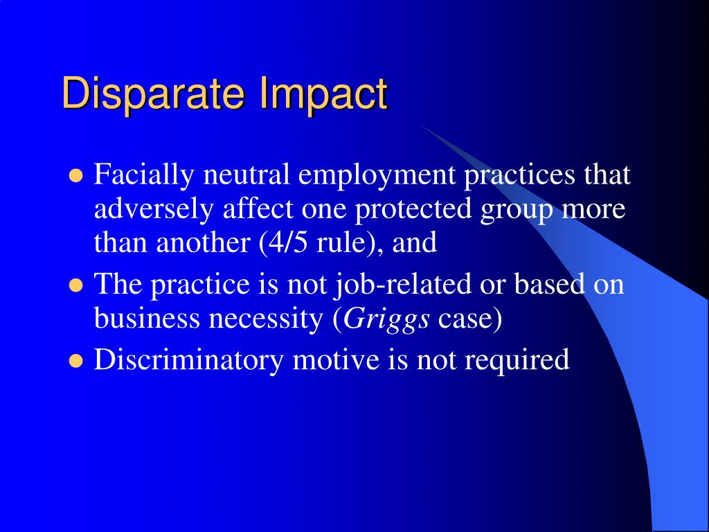 disparate impact disparate treatment Read what are the differences between disparate treatment and disparate impact, equal opportunities international on deepdyve, the largest online rental service for scholarly research with thousands of academic publications available at your fingertips.