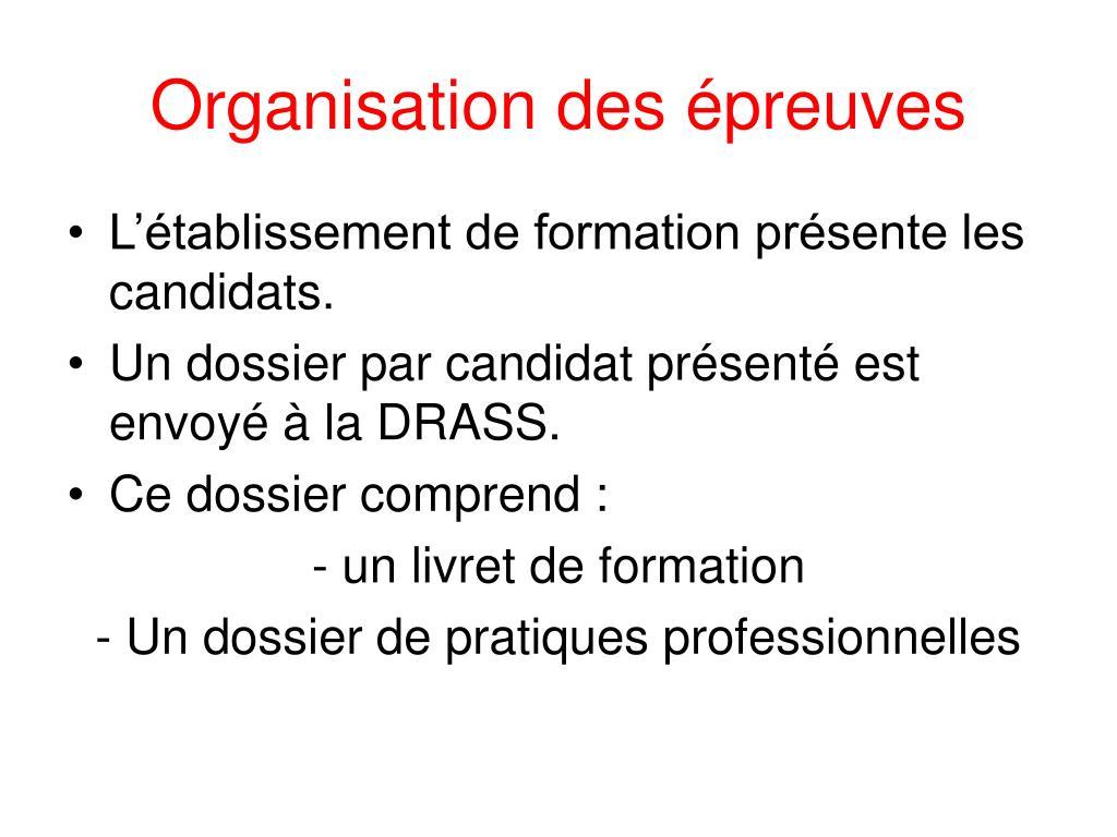 Organisation des épreuves