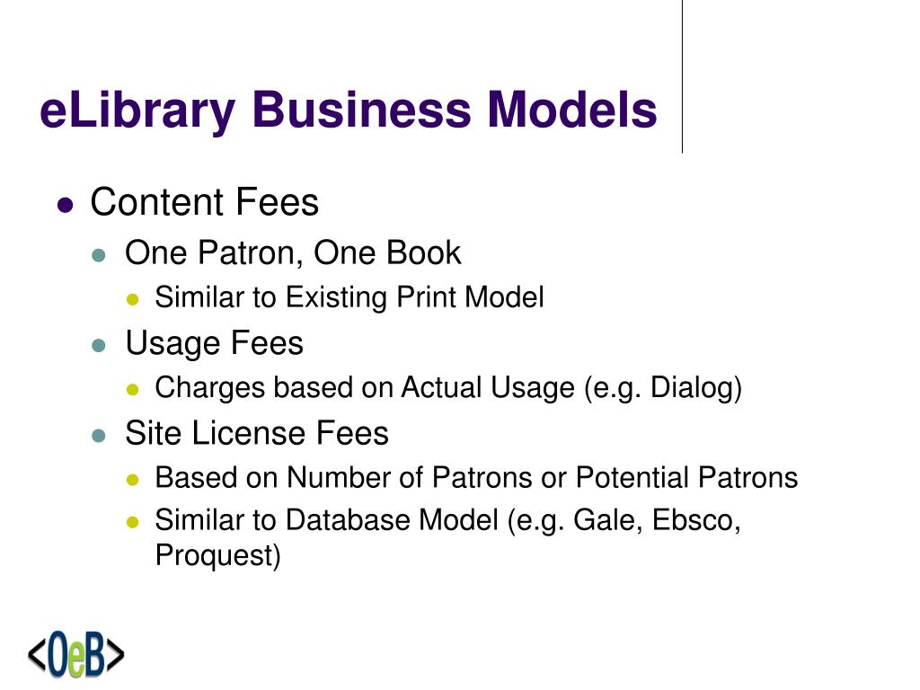 eLibrary Business Models