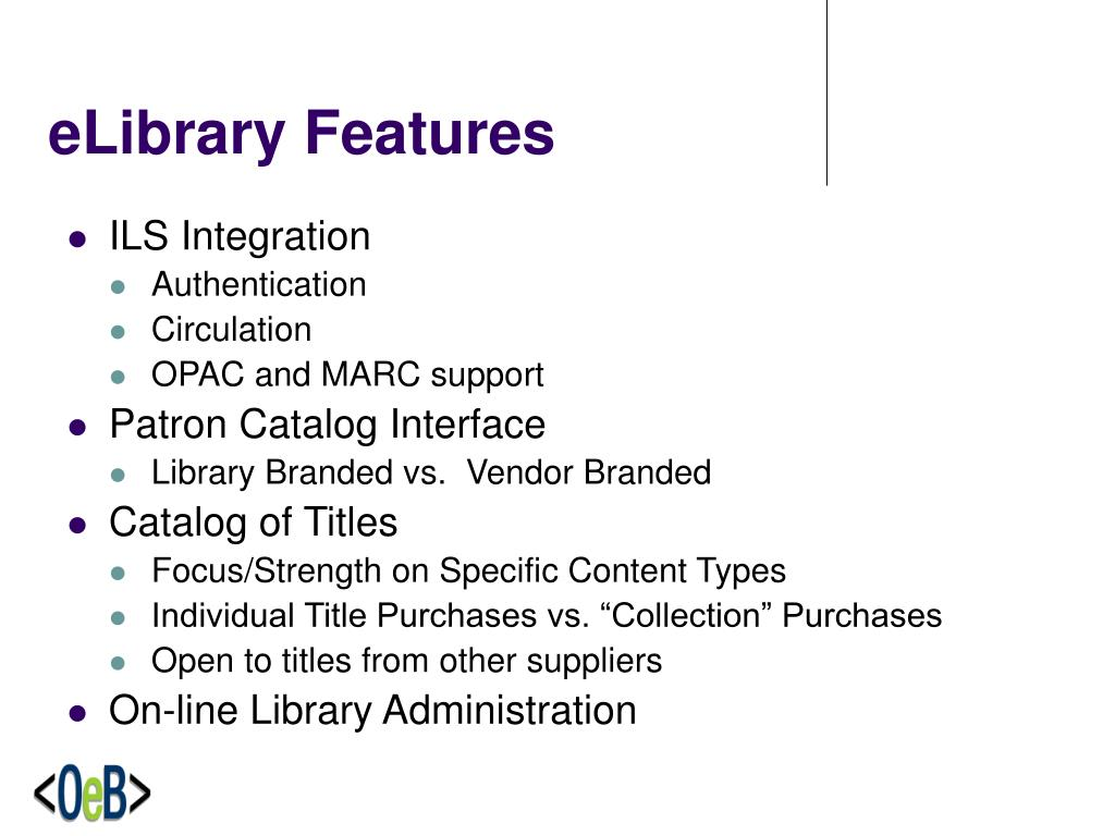 eLibrary Features
