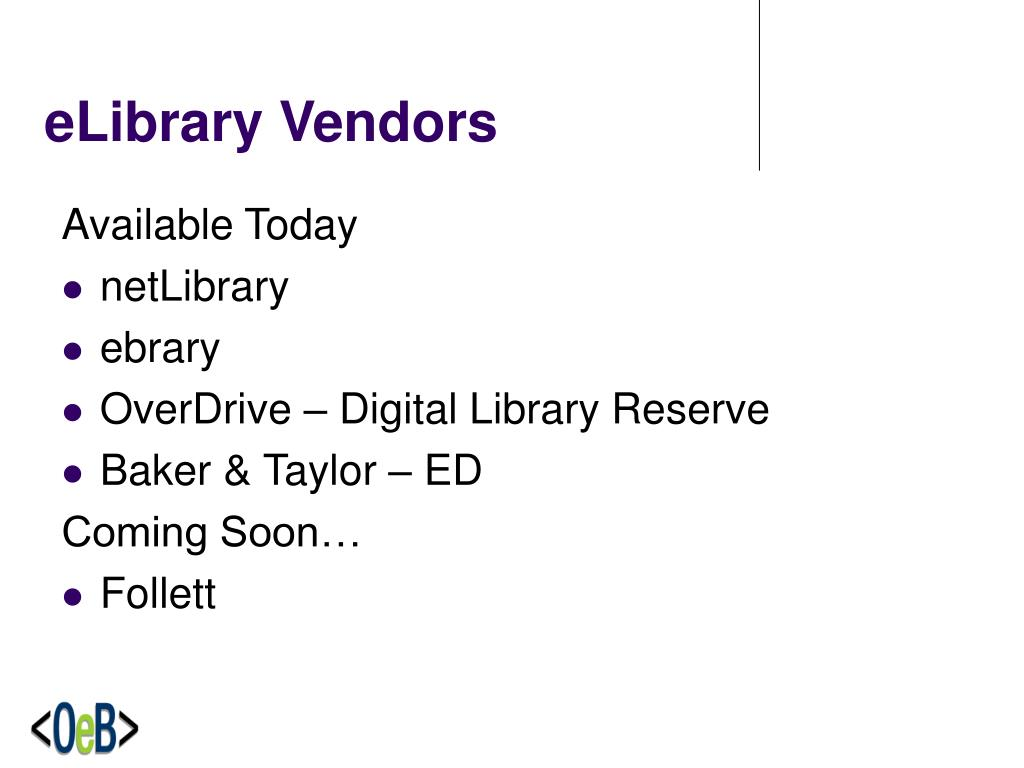 eLibrary Vendors