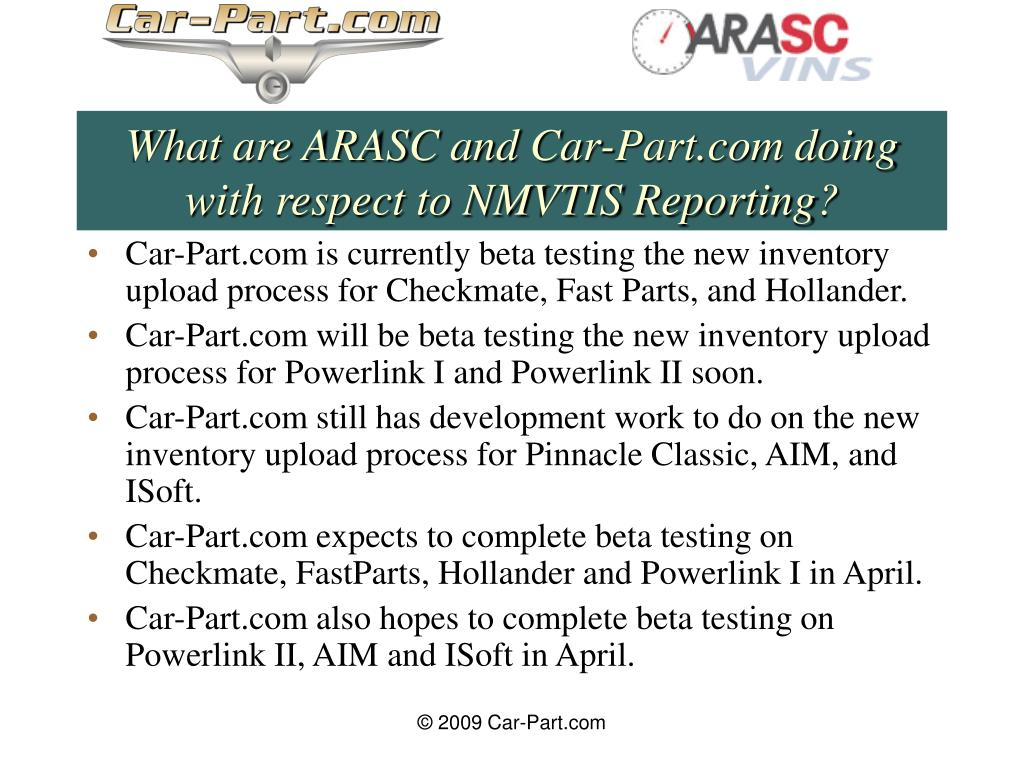 What are ARASC and Car-Part.com doing with respect to NMVTIS Reporting?
