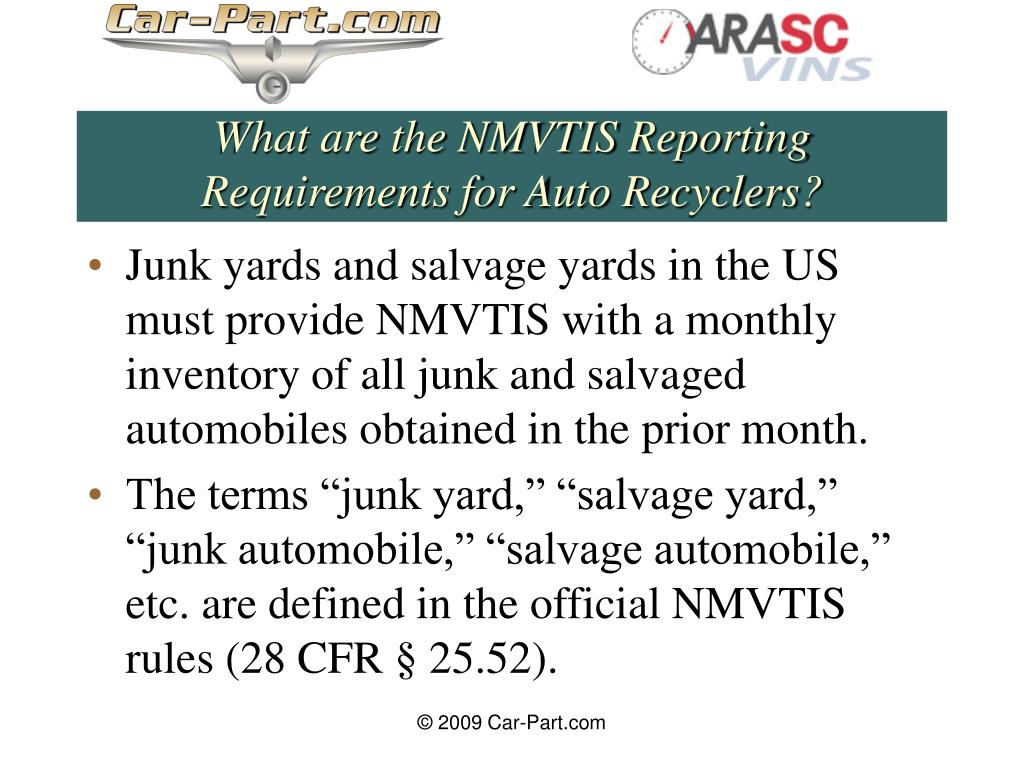 What are the NMVTIS Reporting Requirements for Auto Recyclers?
