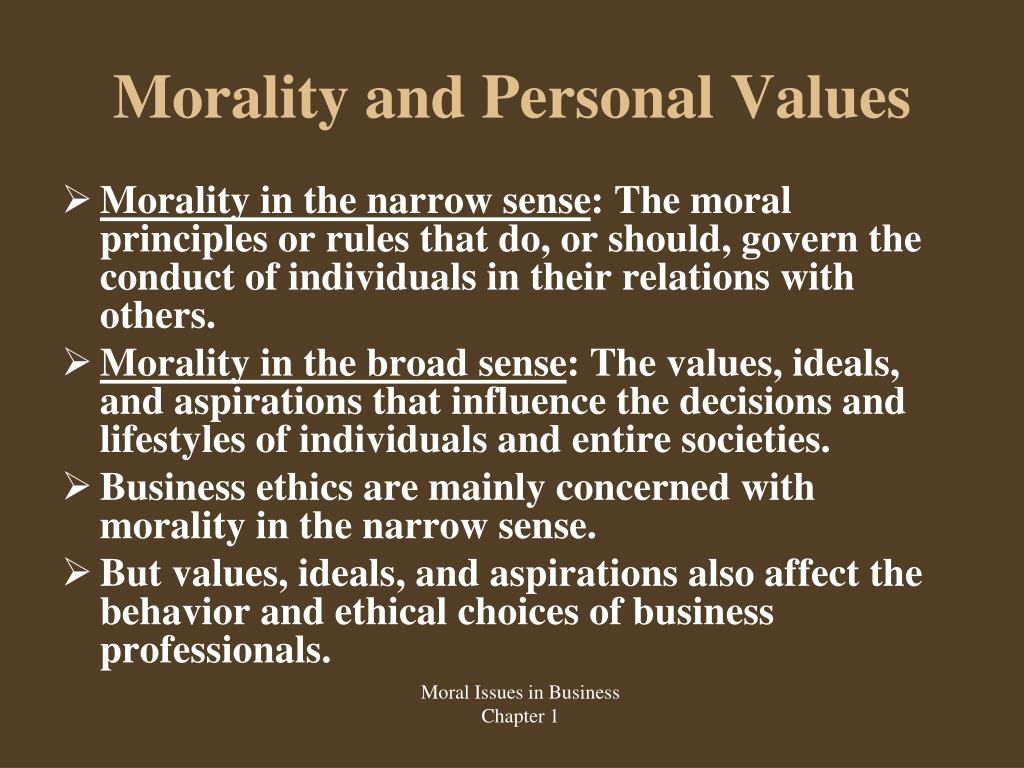 personal values and ethics ®verbalize personal values and beliefs and how they affect  identify personal  values that may make this situation difficult  ethics, but the formal standards are.