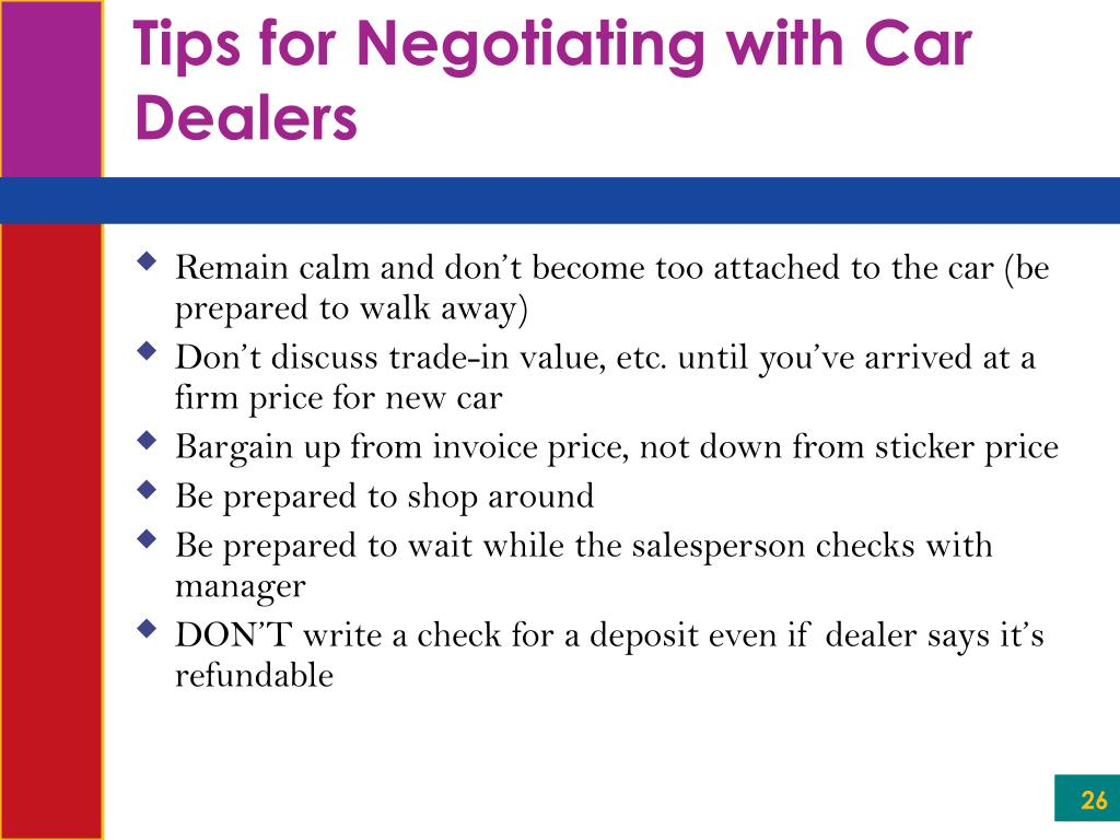 Tips for Negotiating with Car Dealers