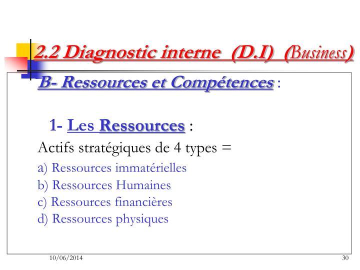 2.2 Diagnostic interne  (D.I)  (