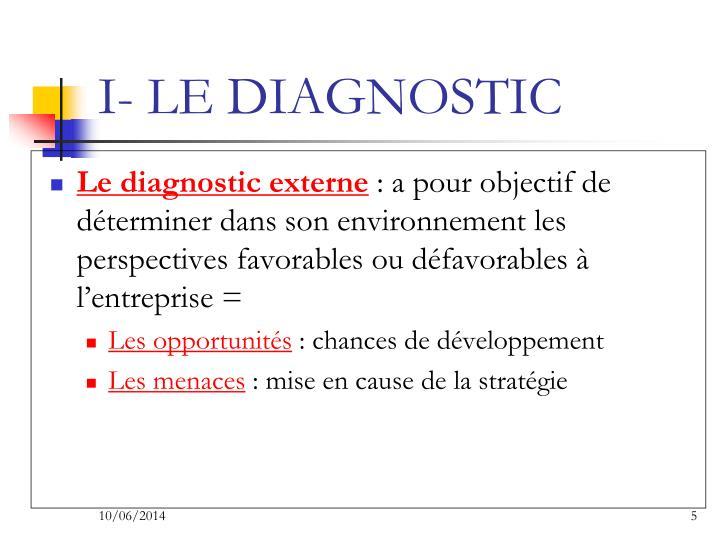 I- LE DIAGNOSTIC