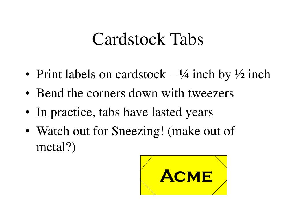 Cardstock Tabs