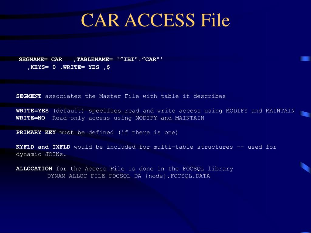 CAR ACCESS File